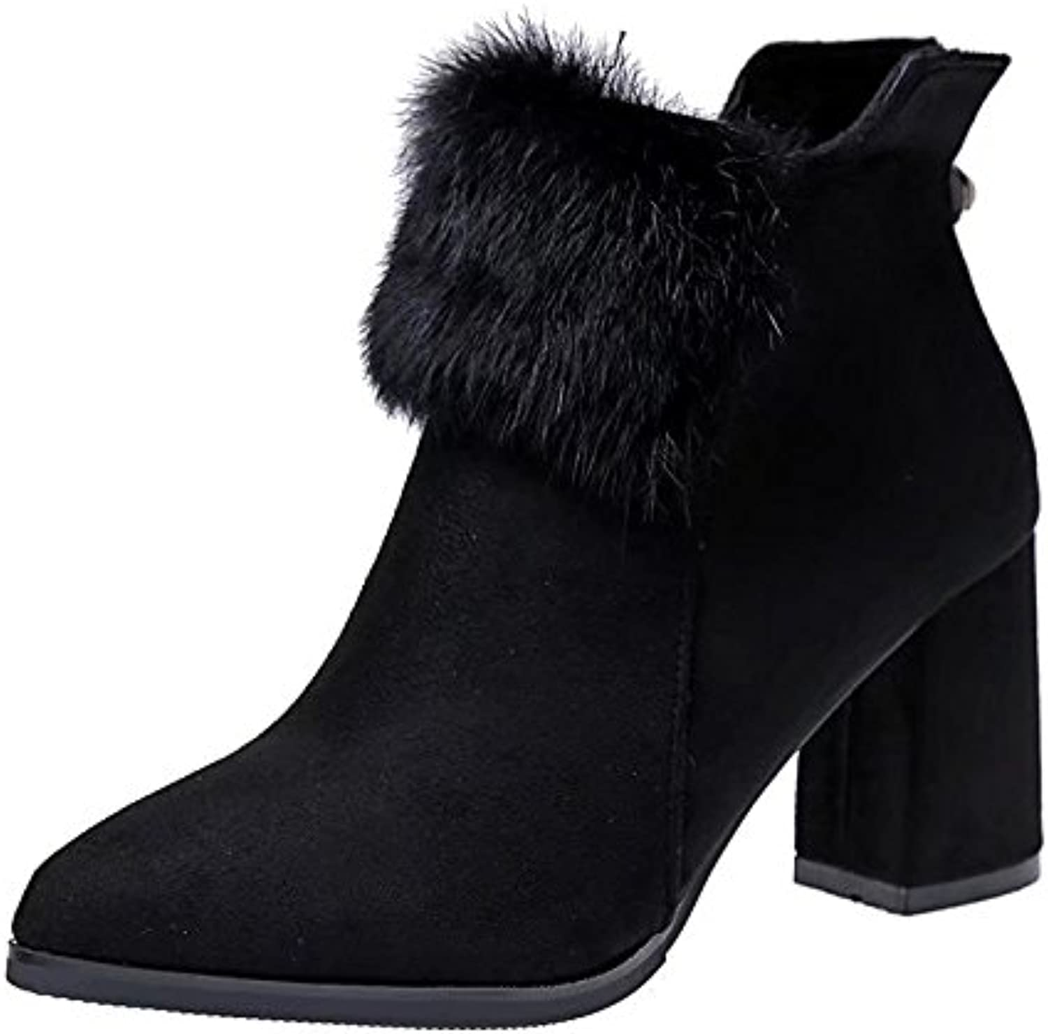 WYMBS Women's shoes Rough with Short Boots Autumn Winter Martin Boots Pointed Non-Slip High-Heeled