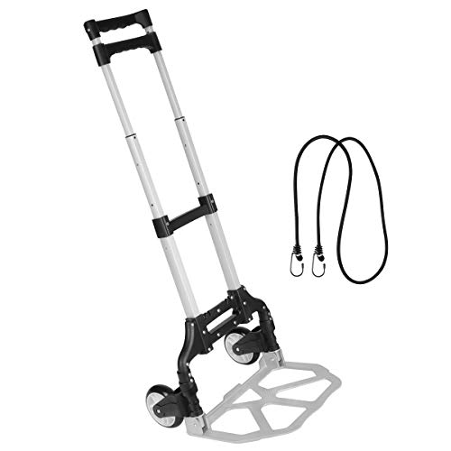 Folding Hand Truck, Gimify Dolly Cart Luggage Hand Cart Aluminum Box Cart Lightweight Portable with Telescoping Handle for Personal, Travel, Shopping, Moving, Office, 165 lbs Capacity (Black)