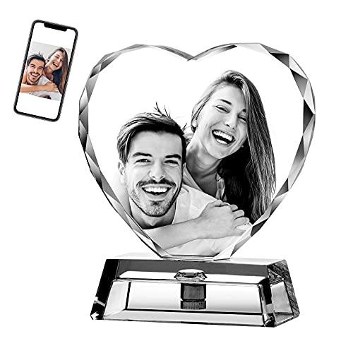 Luz de Noche de corazón personalizada Lámpara de cristal 3D Imagen de foto Luz LED Grabada de 7 colores,Regalo personalizado para mujeres Decoración de Navidad Día De San Valentín