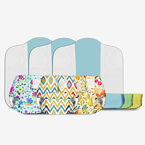 SuperBottoms Newborn Value Pack - 3 Newborn UNO, Washable and Reusable Diaper + 3 Dry Feel Pads (Newborn Size) + 3 Easy Clean Top Sheet - No Print Choice, Assorted Prints