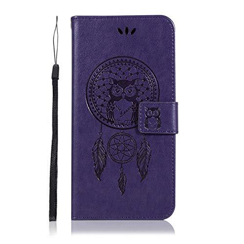 JZ Owl Wallet Custodia for per ASUS Zenfone Max (M1) ZB555KL [Kickstand][Wrist Strap] Flip Cover - Purple