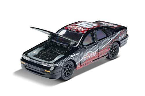 Majorette Racing Nissan Cefiro, Spielzeugauto, Freilauf, zu öffnende Teile, Sammelkarte, 7,5 cm, schwarz/rot, für Kinder ab 3 Jahren