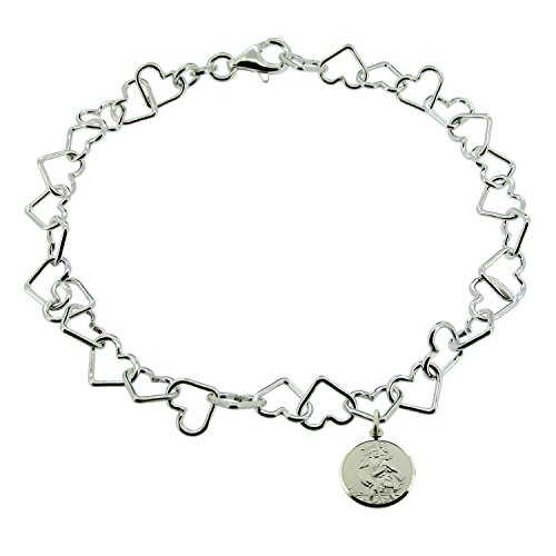 CJoL - Sterling Silver Ladies 11' (28cm) Heart Link Charm Anklet With Reversible St Christopher Charm In Gift Box - 6.4g