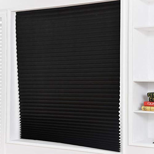 LYEC3 5Pcs Self-Adhesive Pleated Blinds Half Blackout Windows Curtains for Kitchen Bathroom Balcony Shades for Coffee/Office Window (Color : Black, Size : 150x90cm)