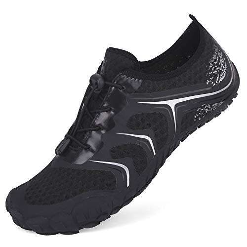 L-RUN Black Mens Shoes for Water Sports Beach Swim Sneaker Black Women 13.5, Men 11.5 M US