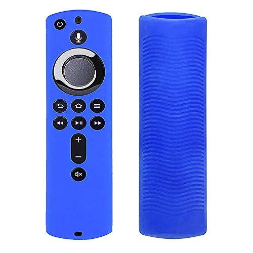 Ellenne Custodia Silicone Cover Telecomando Protettiva per Amazon Fire TV 4K Alexa (Blu)