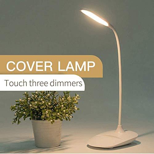 Lámpara de escritorio LED ajustable TiRiSmart, lámpara de escritorio recargable, batería USB para puerto de carga portátil (1200 mAh), 3 niveles de intensidad, estilo flexible (blanco)