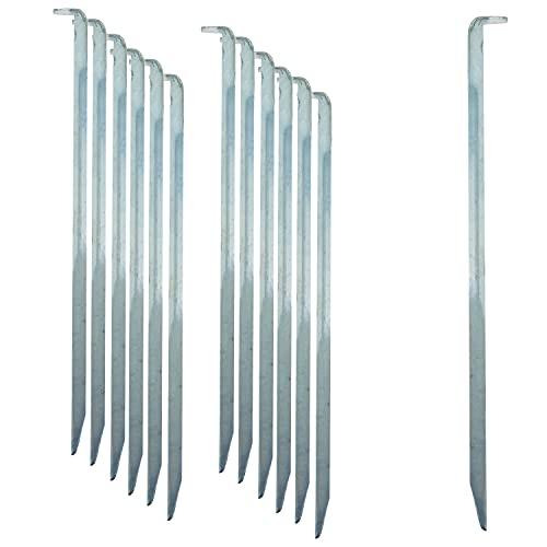 ToCi 12 x Zelt-Heringe   Stahl verzinkt 22 cm lang   Lange und robuste Zelthaken Erdnägel für Camping und Outdoor   Sandheringe mit V-Profil