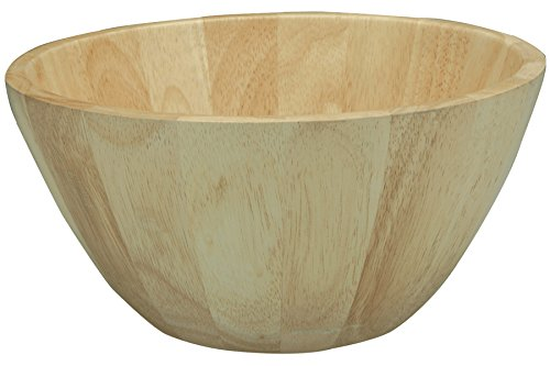 Apollo T6605 Rubberwood Salad/Fruit Bowl, Natural Wood, 25.1x10.5x25.1