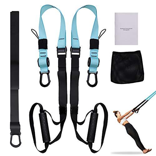 FITOP Allenamento Sospensione, Workout Set per Suspension Fitness Body Training Incluso Ancoraggio per Porta Supporto & Cinghia di Fissaggio per Qualsiasi Tipo di Utente Nylon Carico Fino a 500kg
