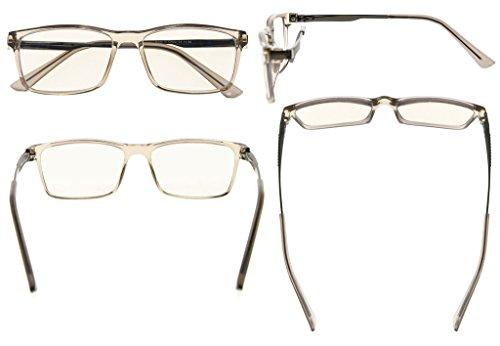Eyekepper NoLine bifocales multifocales progresivas de 3 niveles visión gafas de lectura ámbar color azul luz bloqueo Gris Marco +1.5