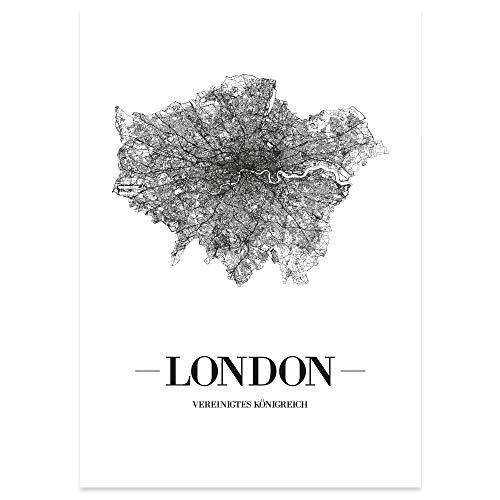 JUNIWORDS Stadtposter, London, Wähle eine Größe, 40 x 60 cm, Poster, Schrift A, Weiß