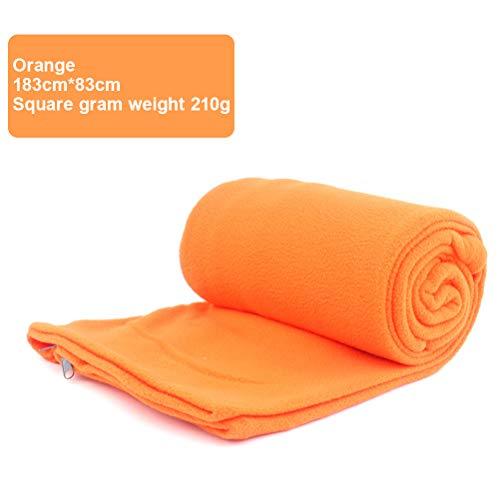 Hihey Slaapzak-inzetstuk multifunctioneel fleece slaapzak Liner Leisure Blanket Camping slaapmat Wandelen Trekking oranje
