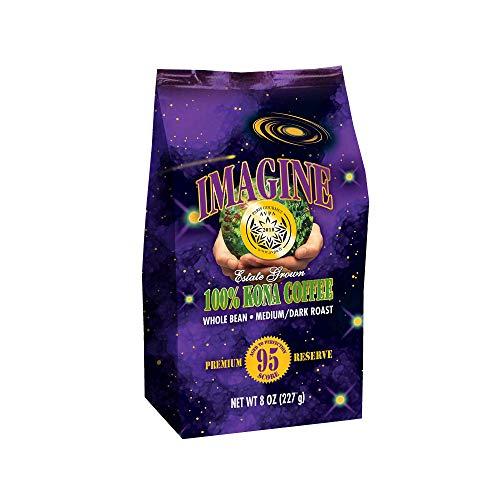 Kona Coffee Beans by Imagine - 100% Kona Hawaii - Medium Dark Roast (Whole Bean, 8 ounce)