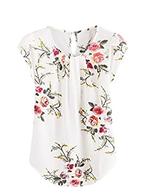 Milumia Women's Print Summer Petal Sleeve Blouse Top X-Large Floral Beige