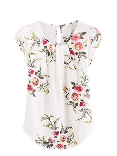Milumia Women's Flower Print Vacation Blouse Top Large Floral Beige