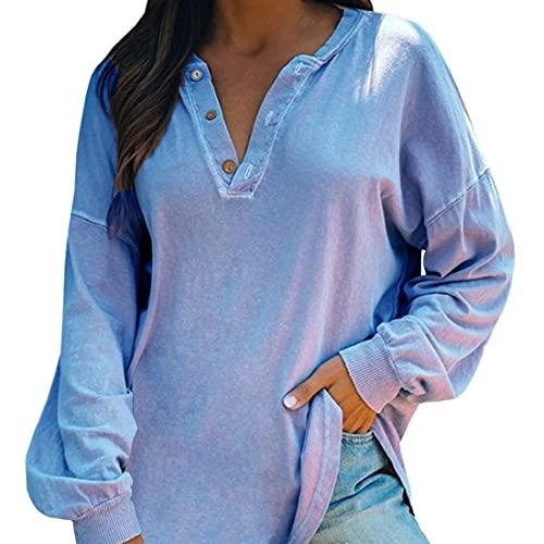 Felpa Donna Elegante Camicia Maniche Lunghe Abbottonatura Sexy Shirt Henley Camicie Casual Scollo A V Allentata Comodo Sweatshirt Traspirante Classic Business Casual Sport Fitness Top Trekking L