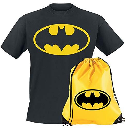 T-shirt Batman pour adultes et enfants garçons Super héros + sac de sport Sac à dos à cordon Sac à dos Comics Dark Knight - - 3XL
