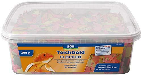 Söll 14700 TEICH-GOLD Futter-Flocken Hauptfutter 3 Liter - Ganzjahresfutter zum Füttern von Teichfischen im Gartenteich für gesunde Ernährung und Fischpflege, lange Schwimmfähigkeit
