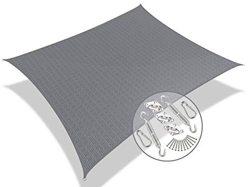 VOUNOT HDPE Sonnensegel Rechteckig mit Befestigung Set, 5x3m, Sonnenschutz Atmungsaktiv und UV Schutz, für Balkon, Garten, Terrasse, Grau