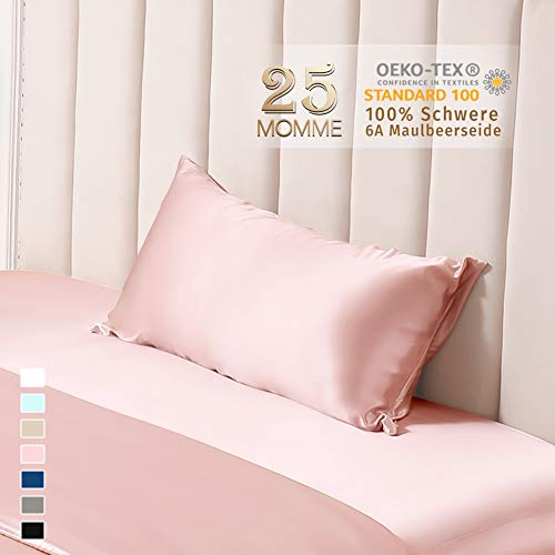 THXSILK 25 Momme Seide Kissenbezug für Haar und Haut - Maulbeerseide Kopfkissenbezug - Hypoallergen mit Versteckter Reißverschluss - Pure Seide auf Beide Seiten - 40x80cm Bezauberndes Rosa