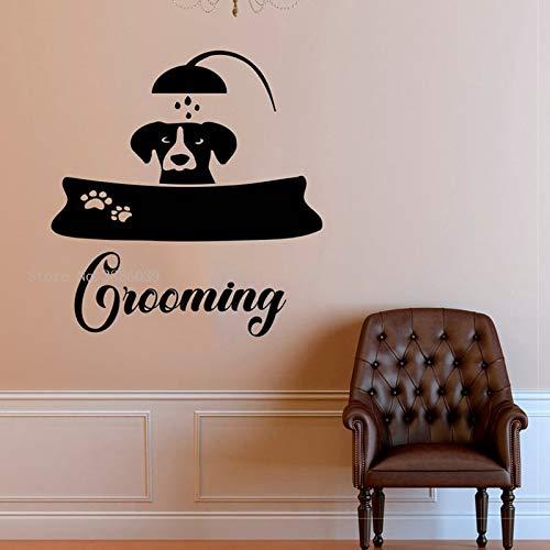 Pegatinas de pared Adhesivos Pared Salón de belleza para perros Aseo de mascotas Cuidado de mascotas Pegatinas de vinilo de pared Etiqueta de ventana Cabello Tienda de mascotas Papel tapiz 72x76cm