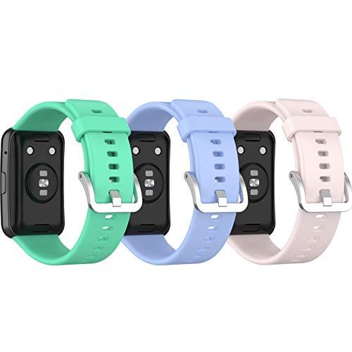 Ruentech Compatible con Huawei Watch Fit, pulsera de silicona de repuesto (azul lila+rosa claro + verde azulado)