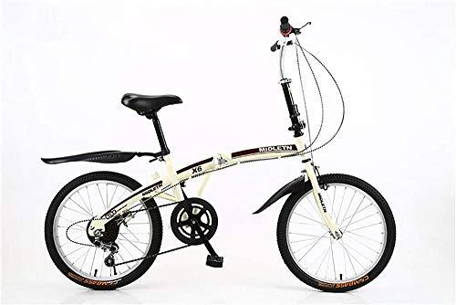 Mecánica plegable bicicleta adulto plegable velocidad variable bicicleta 20 pulgadas acero al carbono aleación de aluminio rueda bicicleta hombres y mujeres ocio-oro