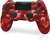 JORREP Ersatz für PS4 Controller,Wireless Controller für Playstation 4/Pro/3/Slim/PC,Six-Achsen Gyro Sensor Dualshock 4 Console mit Headphone Touch Panel and Mini LED Display (Red)