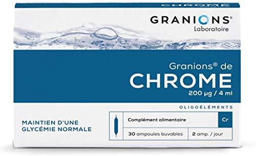 Granions de Chrome - 30 ampoules = 15 jours - Maintien d'une glycémie normale - Chrome 200 µg - Pour tous - Marque française