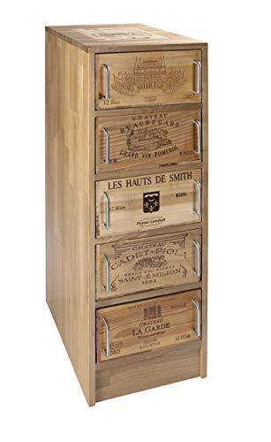 Formitable Kommode mit 5 Schubladen aus 12er Weinkisten, Eiche Massivholz keilgezinkt, B/H/T 37x110x52cm
