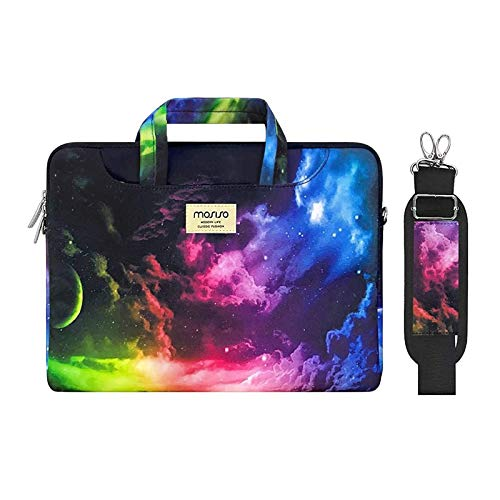 MOSISO Laptop Shoulder Bag Compatible with MacBook Pro 16 inch A2141 Pro Retina A1398, 15-15.6 inch Notebook, Pattern Briefcase Sleeve with Trolley Belt, Colorful Sky