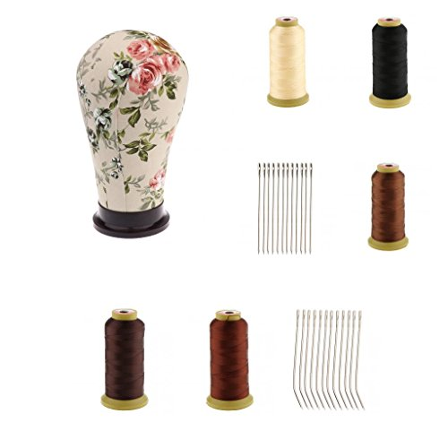 Sharplace 5x Fil de Tissage Trame Perruque + I/J Aiguille Crochet à Dreadlocks Cheveux + Tête Mannequin en Toile Présentoir de Perruque