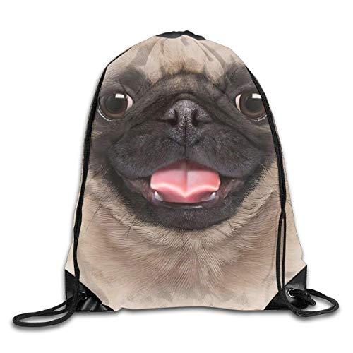 BK Creativity Drawstring Backpack,Pug Dog 3D Cute Funny Gift Drawstring Backpack Bag,Fashionable Drawstring Daypacks For Teens School Camping,36x43cm