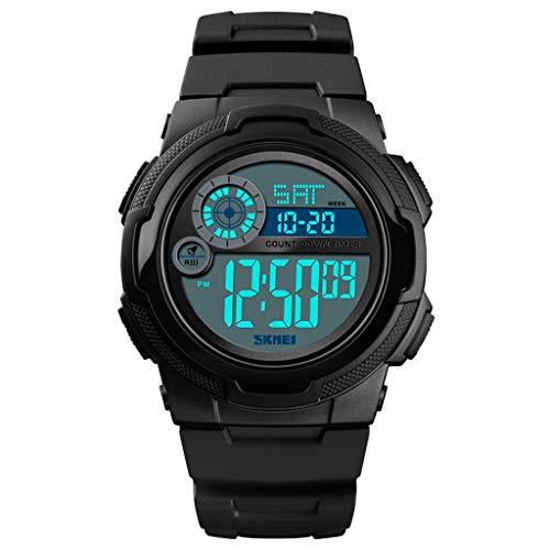 Orologio da uomo Luminous Waterproof, multifunción para Hombre, Reloj Deportivo Digital al Aire Libre (Color : A)