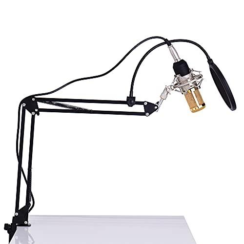 IKAYAAA Profesional Studio Broadcasting Grabación Micrófono Condensador Mic Kit Set 3.5mm con Shock Mount Suspensión Ajustable Scissor Brazo Soporte Montaje Clamp Pop Filter