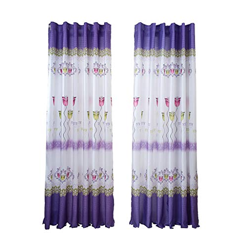 QIUUE Best Soft Balcony Bedroom Wide Strip Half Blackout Curtains for Bedroom (A) Purple