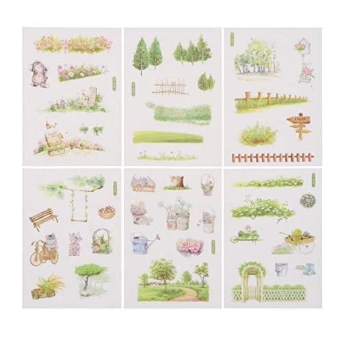 TINKSKY 手帳シール 和紙ステッカー 自然ガーデニング植物 花 手絵 DIY 種類いろいろ 少女&子供用 6枚セット