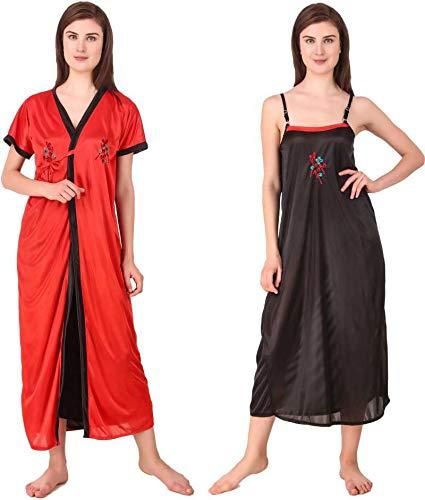 SairaSonic Women's Satih Full Length Nighty Set (Free Size)- Red,...