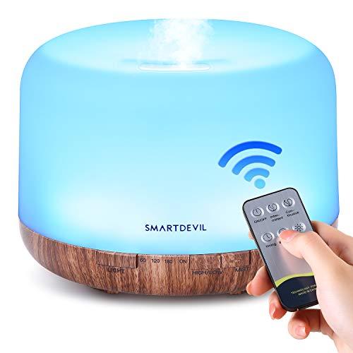 SmartDevil Aromadiffuser 500 ml【Geen adapter】 ultrasone luchtbevochtiger, met afstandsbediening, met 7 kleuren leds…