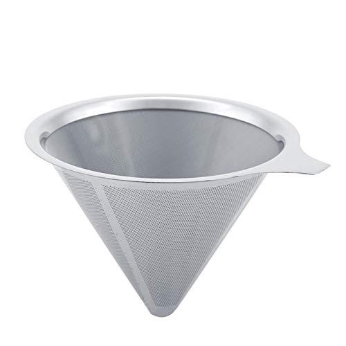 Tiffasha Filtro de café - Filtro de café de Acero Inoxidable Gotero de café de Doble Capa Reutilizable con Soporte para Taza(#1)