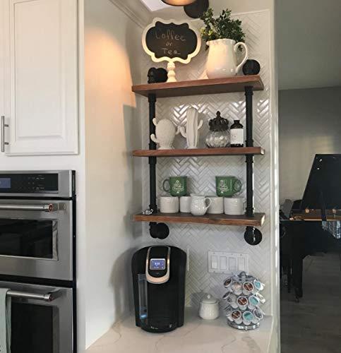 Future Way Shelf Brackets 12 inch for Wood Shelves, 4-Pack Black Sturdy Iron Metal J Bracket for DIY Open Shelving