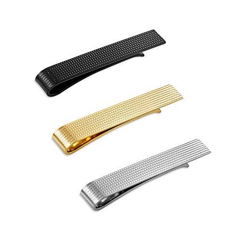 Set di 3 Fermacravatta Uomo Colore Argento, Nero, Oro 5.4CM + Pacco Regalo