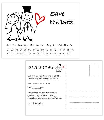 Postkarten Save the Date Karten, Hochzeit, Wedding, Hochzeitsleinladungen, Terminplanung Hochzeitsfeier (35 Karten Brautpaar)