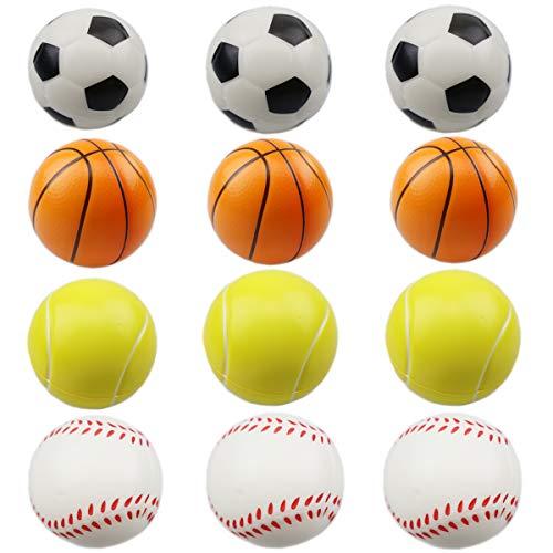 ZYDTRIP 12 stück Squishy Spielzeugball, 6.35cm Stressball Mini Sportball, Basketball Fußball Fußball Tennis Stressabbau Ball für Kinder und Erwachsene Neuheit Spielzeug für Party