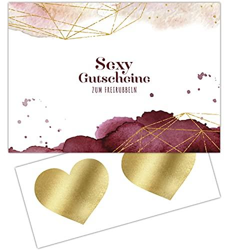 FRUITPRINTS CherryCards Gutscheinheft 10 Sex Gutscheine zum Personalisieren und Freirubbeln - Erotisches Geschenk für Partner/Partnerin - DIN A6 - Liebesgutscheine Rot und Gold