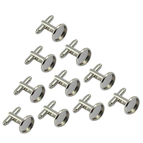 10pcs Rund Manschettenknöpfe Rohlinge Fassungen für Cabochons Silber
