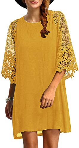 MakeMeChic Women's Casual Crewneck Half Sleeve Summer Chiffon Tunic Dress Yellow S