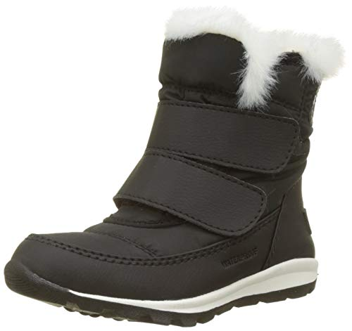 Sorel Girls' Children's Whitney Velcro Snow Boot, Black, sea Salt, 13 M US Little Kid