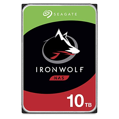 Seagate IronWolf 10 TB HDD, NAS interne Festplatte, 8, 9 cm (3, 5 Zoll), 7200 U/Min, 256 MB Cache, SATA 6 Gb/s, silber, Modellnr.: ST10000VN0004